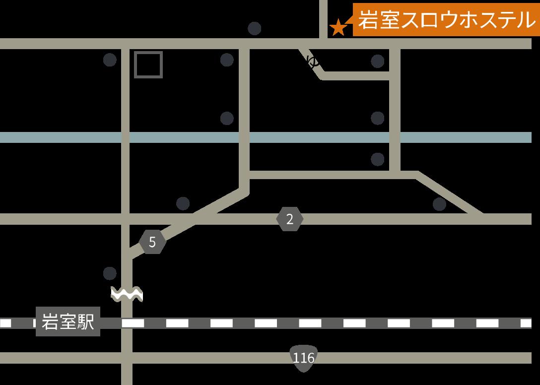 岩室スロウホステル周辺の交通マップ